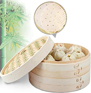 10 Inch Asian Organic Bamboo Steamer, 2-Tiers Chinese Food Steamers, Natural Handmade Steam Basket, Great for dumplings, v...