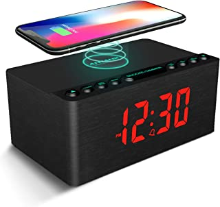 ANJANK Wooden Alarm Clock with FM Radio, 10W Super Fast Wireless Charger Station for iPhone/Samsung, 5 Level Dimmer, USB C...