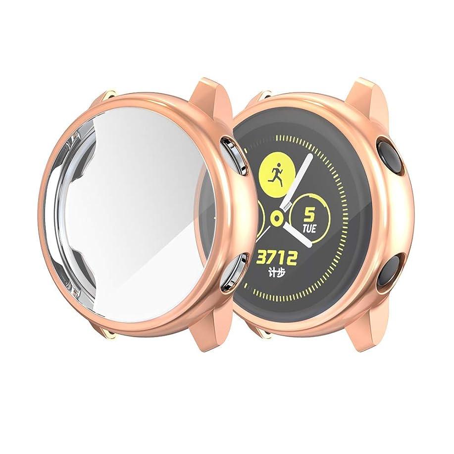 チケットうねるプレビスサイトSamsung Galaxy Active Watch サムスンギャラクシーの活動的な腕時計の箱、摩耗抵抗及び防水複数色40mmが付いているオールインクルーシブの粉砕抵抗力がある保護貝をめっきするTPUと互換性がある (ローズゴールド)