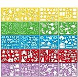 VEYLIN ステンシル 描画テンプレート 描画テプレート (20枚入:21*15cm) 手帳用 絵図