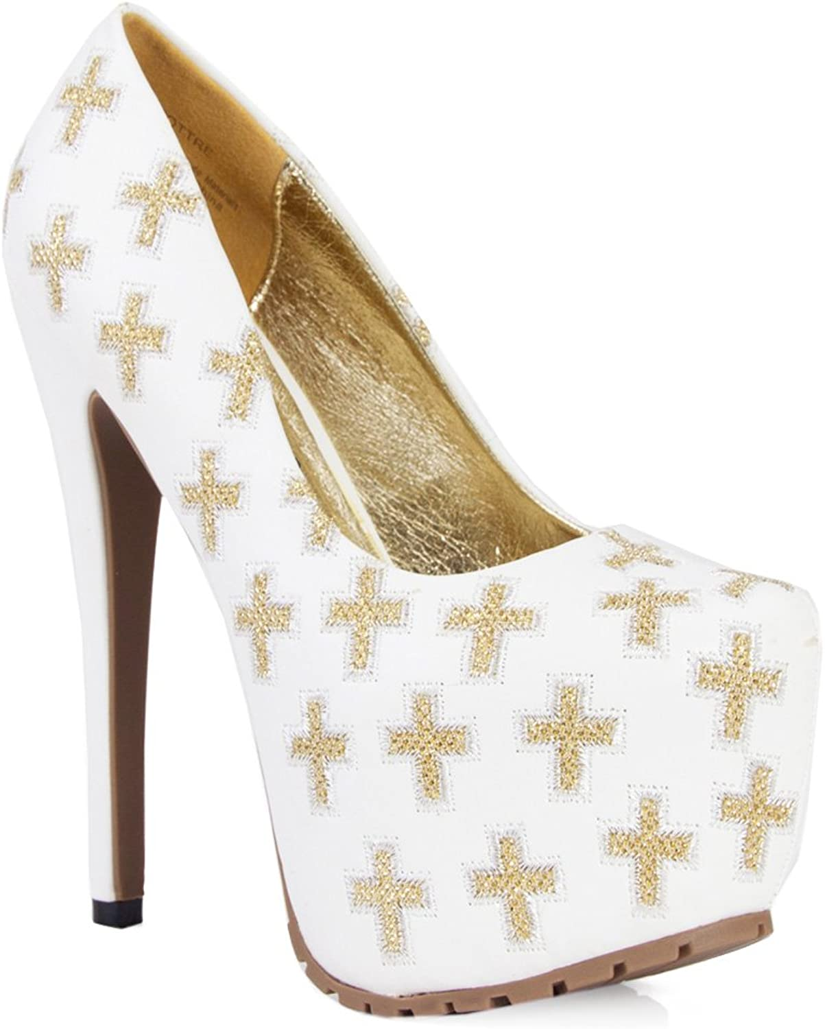Privileged shoes Pottre Almond Toe gold Cross Embroidered Platform Pump