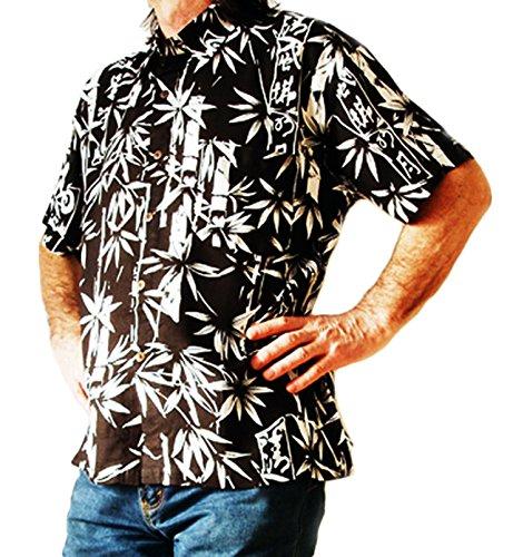 Loud Chemise hawaïenne Noir/blanc Motif bambou S, 46 cm de tour de poitrine, cerf, nuit d'été, nouvelle étiquette de canard Double