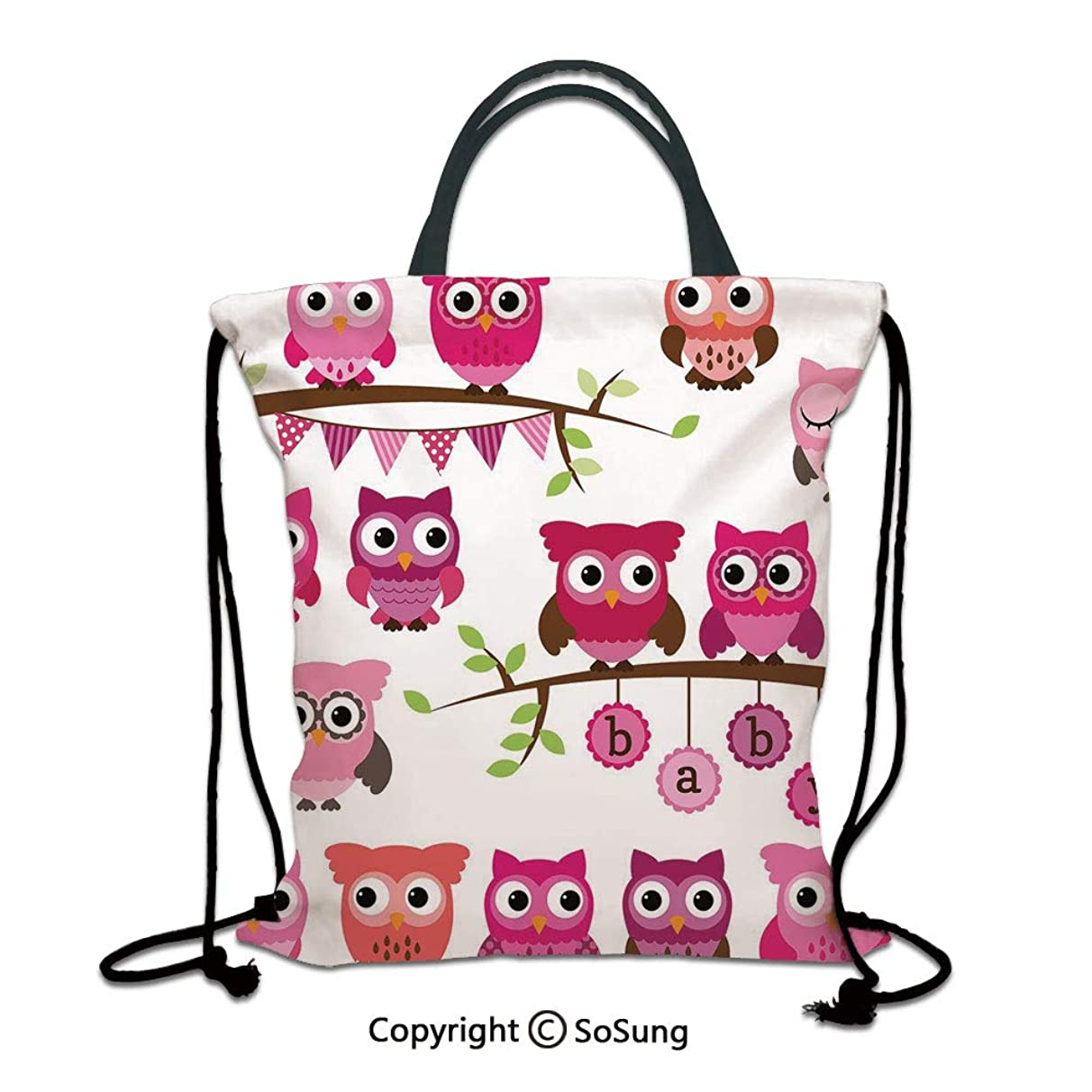 Nursery 3D Print Drawstring Bag String Backpack,Girl Baby Shower Themed Owls and Branches Adorable Cartoon Animal Characters,for Travel Gym School Beach Shopping,Purple Pink Brown
