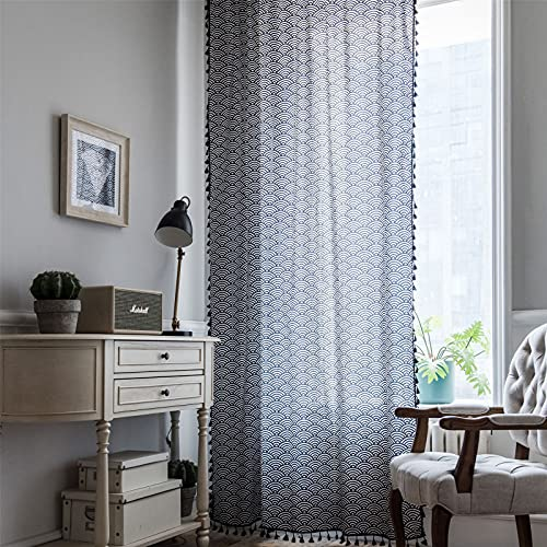 FACWAWF Curtain Blue And Wind Printing Tassel Japanese Style Window Kitchen Curtain Cotton And Linen Semi-Shading Bay Window 150x160cm(1pcs)