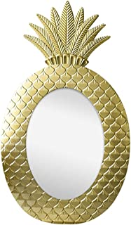 WYXIAN Mirror Wall-Mounted Bathroom Makeup High-Definition Pineapple Framed Resin Simple Retro (Color : Gold, Size : 60X35CM)