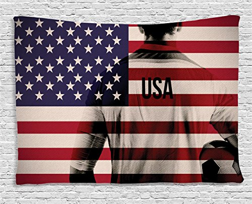 """Ambesonne Soccer Tapestry, Composite Double Exposure Image of a Soccer Player and American Flag USA Run, Wide Wall Hanging for Bedroom Living Room Dorm, 60"""" X 40"""", Blue Red"""