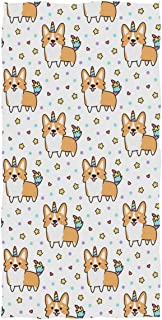 Wamika Dog Pattern Hand Towels Welsh Corgi Dog Unicorn Thin Bathroom Towel Ultra Soft Highly Absorbent Multipurpose Towels for Hand,Face,Gym,Sports Home Decor, 16x30 in
