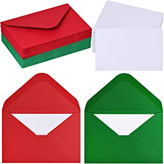 50 Sets Christmas Holiday Colors Mini Envelopes with White Blank Business Cards Note Cards Red Green Small Gift Card Tiny Envelopes Pocket Envelopes Bulk 4