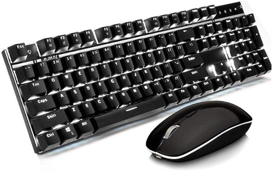 LMDH Teclado Mouse Set, Teclado mecánico y ratón inalámbricos ...