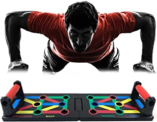 Shapelocker Push Up Board 9 in 1 Multicolor Training System for Core Workout, Foldable Push-Up Rack Board with Workout Schedule and Non-Slip Stickers