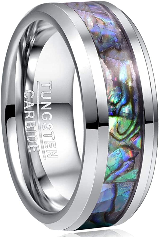 VAKKI 8mm Max 87% OFF Natural Abalone Shell Mother Inlay Tungsten W Pearl 2021 spring and summer new of