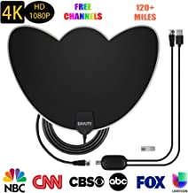 HDTV Antenna, 2019 Newest Digital Indoor TV Antenna 120+ Miles Range, 4K 1080P VHF UHF Free Local Channels HDTV Antennas with Amplifier Signal Booster and 16.5 FT Coaxial Cable for All Type Television