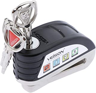 Motorcycle Brake Alarm Lock Anti-Theft Wheel Disc Brake Lock Security Alarm Universal For Motorcycle Scooter Bicycle Anti Thief (Black)