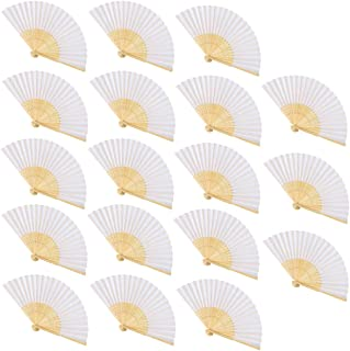 CUSFULL 18 Pack Wedding Fans Hand Held Folding Silk Fans Handheld Bamboo Fans for Wedding/Party/Party Favours/Decoration (White)