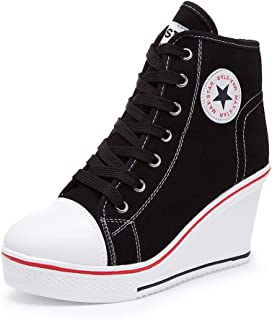 Women's Sneaker High-Heeled Canvas Shoes High-Top Wedge Sneakers Platform Lace up..