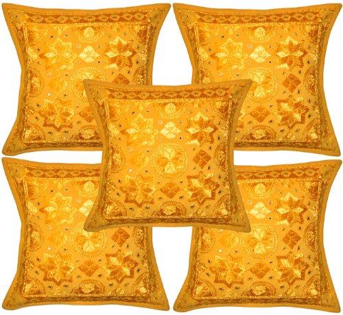 Hecho a mano Vintage diseño de cuerda de seda bordado Con Espejo Trabajo Tradtitional Indian algodón amarillo fundas de almohada manta funda para cojín de 16 x 40,64 cm juego de 5 piezas