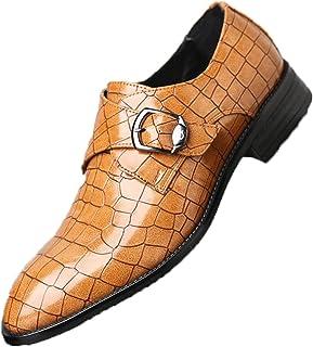 Zapatos de Negocios para Hombres, patrón Dividido, Hebilla de Metal, Correa, Zapatos de Cuero con Cordones, Zapatos Formal...