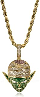 Hip Hop Dragon Ball Cartoon Figure Super Majin/Broly/Goku/Cell/Fat Buu/Piccolo/Frieza 18K Gold/Silver Plated Iced Out Pendant Necklace, Hip Hop Jewelry for Men Women Kids