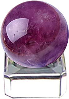 フェリモア アメジスト 天然石 水晶球 紫水晶 パワーストーン 浄化 アメシスト 台座付 30mm (パープル)