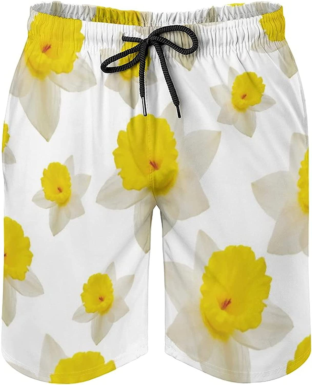 by Unbranded Men's Board Shorts with Zipper Pockets Full Mesh Daffodils