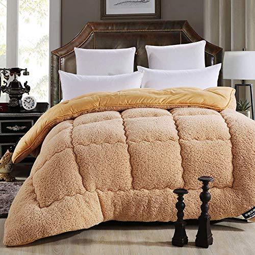 RENXR Winter Cashmere Fabric Quilt, Quilt Cashmere Warm, Moisture/Gas-Permeable, Down Quilts, Single Double,Brown,220x240cm 4kg