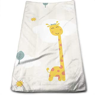 N/W Cute Yellow Giraffe and Sun Extremely Soft Hand Towels White Beige Stripes Green Tree Kitchen Towel 11.8 X 27.5 Inch S...