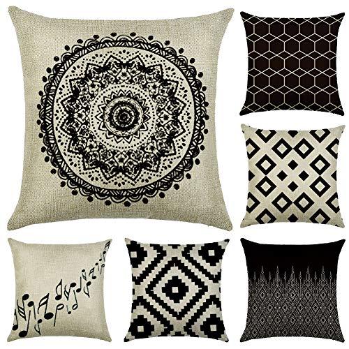 JOTOM - Juego de 6 fundas de cojín cuadrada de lino y algodón, para decoración de sofá o habitación, 45 x 45 cm, Patrones geométricos 2, 45 x 45 Centimeters