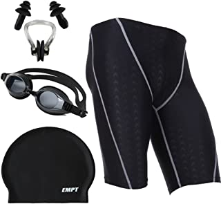 EMPT(イーエムピーティー) メンズフィットネス水着 競泳水着 スイムウェア 水泳ゴーグル シリコンキャップ 耳栓&鼻栓 4点セット ブラックxホワイト S