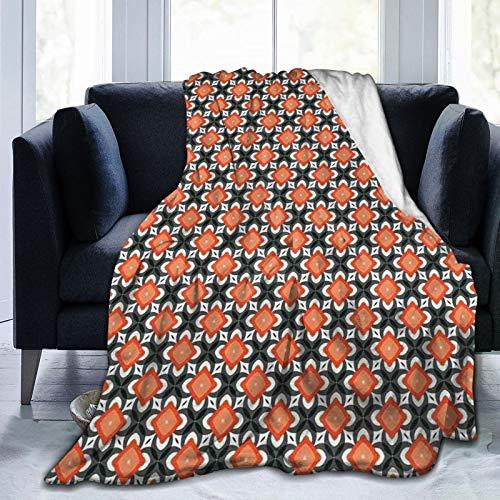 Manta mullida, figuras geométricas de flores en estilo retro, diseño de país, ultra suave, manta para dormitorio, cama, TV, manta de cama de 80 x 60 pulgadas