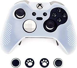Taifond Anti-Slip Silicone Controller Cover Protective Skins for Microsoft Xbox One Elite Controller with Four Thumb Grip Caps (White)