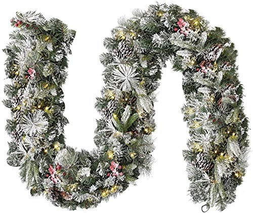 Acebranco Extra Thick Decorated Pre-Lit Garland Waterproof 9ft 100LED Lights Snow Flocked Garland For Fireplaces Stairs Doors Xmas Tree Garden Yard Décor With Timer (Pre Lit, Snow-Flocked)
