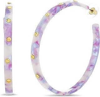 Multi Color Studded Acrylic Hoop Earrings for Women...