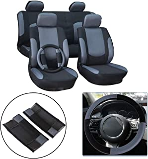 OCPTY Car Seat Cover, Universal Seat Cushion w/Headrest Cover/Steering Wheel/Shoulder Pads 100% Breathable Automotive Accessories with Durable Washable Mesh/Polyester for Most Cars(Black/Gray)