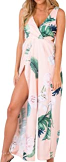 Women's Summer V Neck Floral Split Side Wide Leg Holiday Rompers Jumpsuits High Slit Long Overalls Boho Beach Dresses