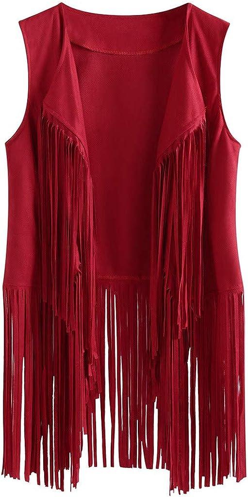 XINXX Women Open Front Cardigan Vest Faux Suede Ethnic 70S Vintage Tassels Fringed Sleeveless Blazer Jacket Autumn Vest Red