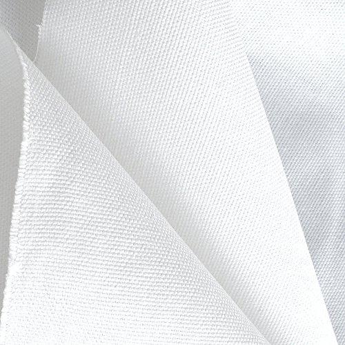 TOLKO® Baumwollstoff Segeltuch mittelschwer - Polsterstoff/Möbelstoff als Meterware am Stück (Weiß)