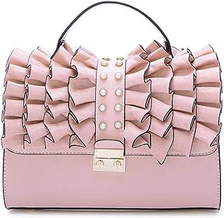 Trendy Ladies Fashion Handbag Retro Shoulder Bag Large Capacity Shoulder Bag Zgywmz (Color : Pink, Size : 26 * 11 * 17cm)