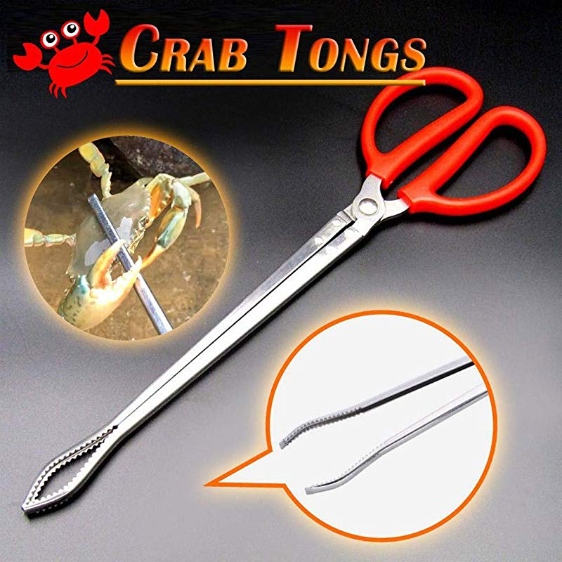 Crab Tongs Eoeth Reinforced Multi Function Clip Anti Slip Tool Clip Sea Crab Artifact Crab Tongs Mud Tongs Iron Tongs Garbage Clips Catching Sea Clips