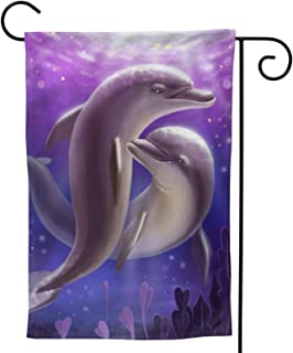 Lovers Dolphins Garden Flag Ocean Theme House Flag Vertical Double Sided Yard Outdoor Decor Party 12.5 X 18 Inch