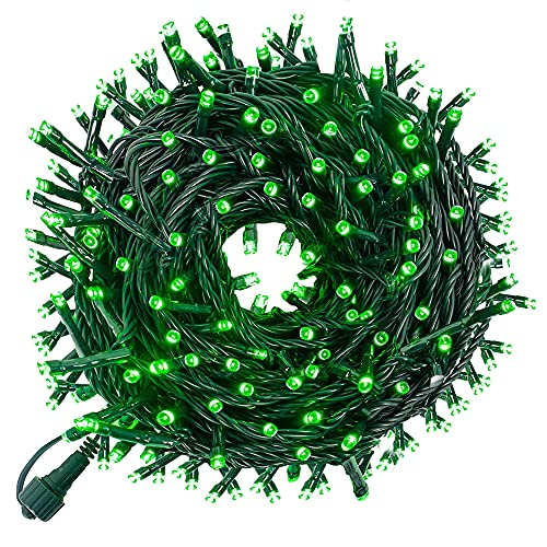 Funpeny 300 LED Indoor String Lights, 100 FT Plug in Waterproof String Lights with 8 Modes for Halloween Thanksgiving Christmas Garden Decoration, Indoor and Outdoor Decoration (Green)