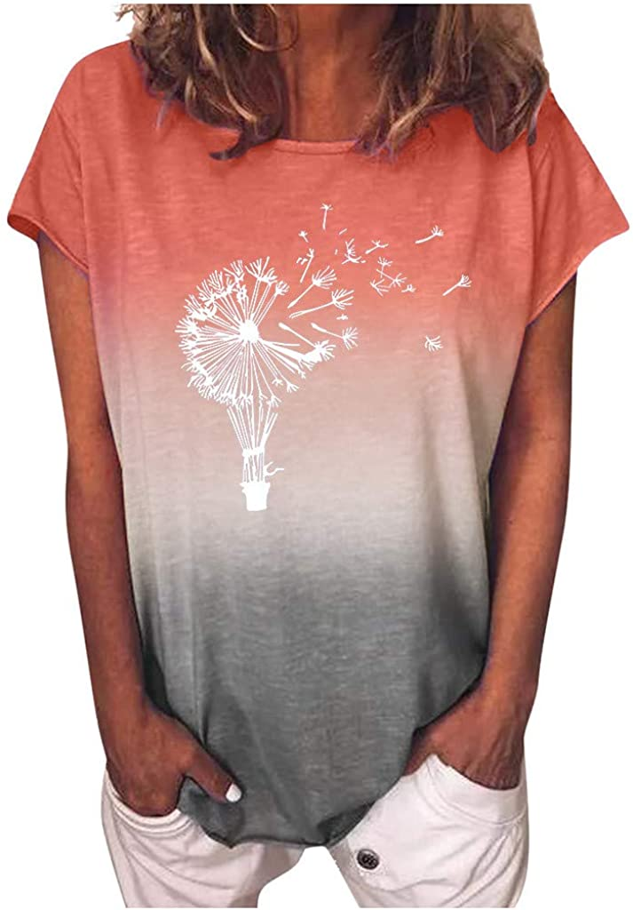 Aukbays T-Shirts for Women Rainbow Gradient Printed Dandelion Graphic Oversize Short Sleeve O Neck with Leggings Tops