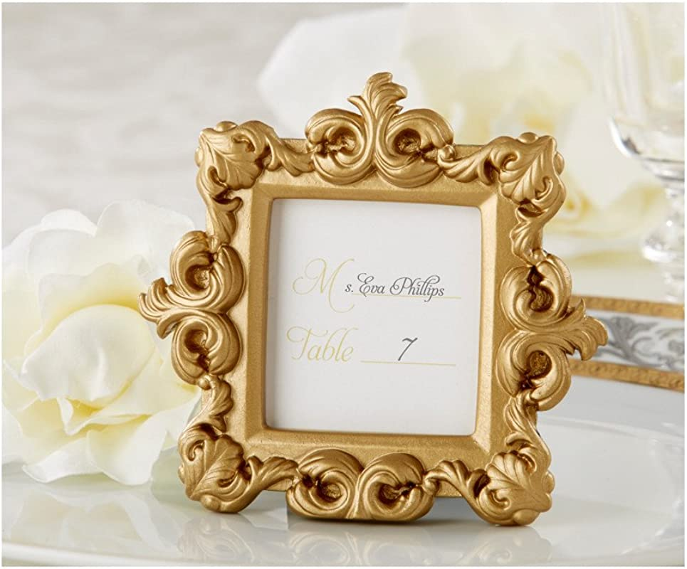 FavorWarehouse Royale Gold Baroque Place Card Photo Holder 48 Count