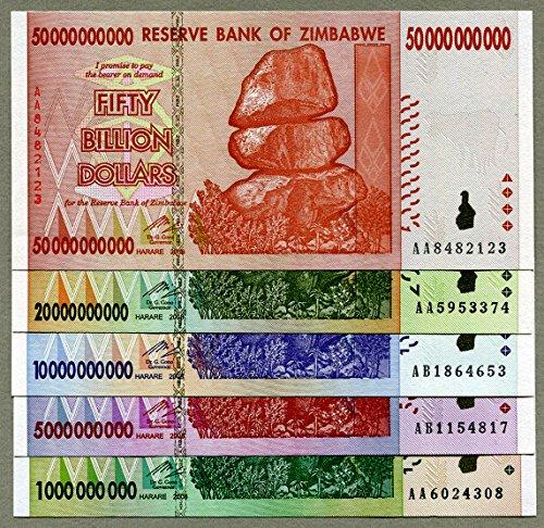 Zimbabwe 50 20 10 5 1 Billion Dollars banknotes 2008 Full Set UNC Currency Bills