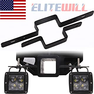 ELITEWILL 2'' Tow Light Bracket Steel Tow Hitch Mounting Bracket Dual LED Backup Reverse