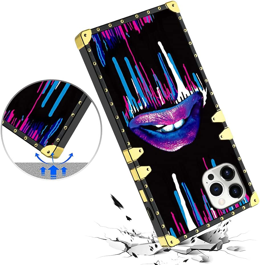 KANGHAR Case for iPhone 12 Pro Max Case Square Luxury Purple Art Lips Case with Screen Protector Soft TPU Bumper Shockproof Cover Metal Decoration Protective Case for iPhone 12 Pro Max 6.7 Inch