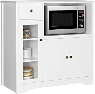 HOMECHO Mueble Auxiliar de Microondas para Cocina Alacena Aparador bajo la Cocina para Almacenamiento Blanco Marfil 90x45x...