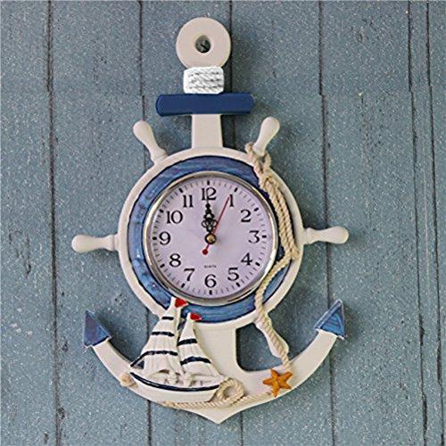 Pared Reloj Playa mar Tema náutico Nave Rueda timón dirección decoración Colgando de la Pared decoración