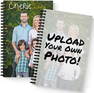 """Create Your Own Photo Upload Personalized Notebook/Journal, Laminated Soft Cover, 120 Checklist pages, lay flat wire-o spiral. Size: 5.5"""" x 8.5"""". Made in the USA"""