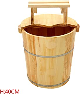 ERHANG Pedicure Bowl Foot Bath Tub Barrel Home Wooden Foot Bath Bucket Sauna Spa Pedicure Basin,D