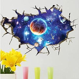 3D Cosmic Space Planet Broken Wall Stickers for Kids Rooms Bedroom Nursery Home Decoration Decals murals Break The Wall St...